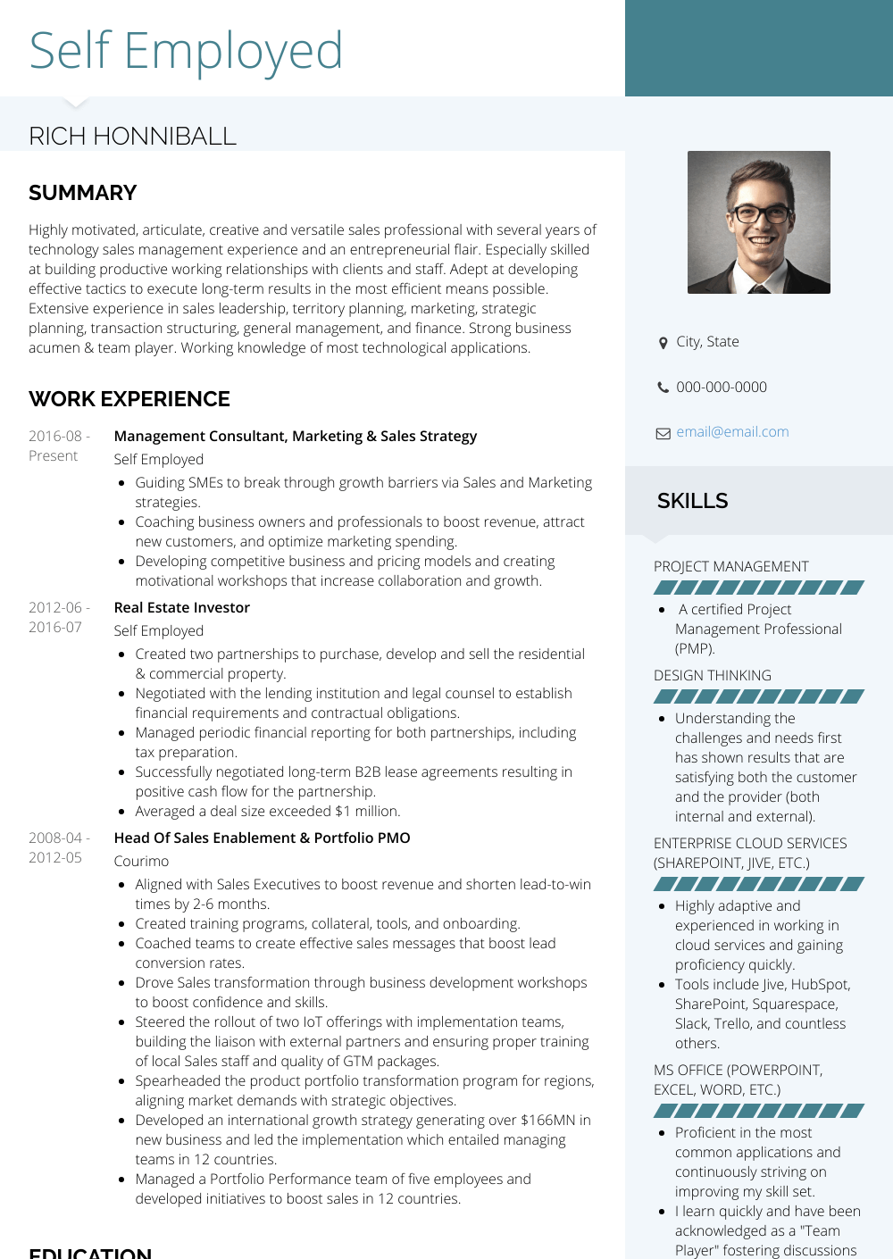 Self Employed Resume Sample and Template