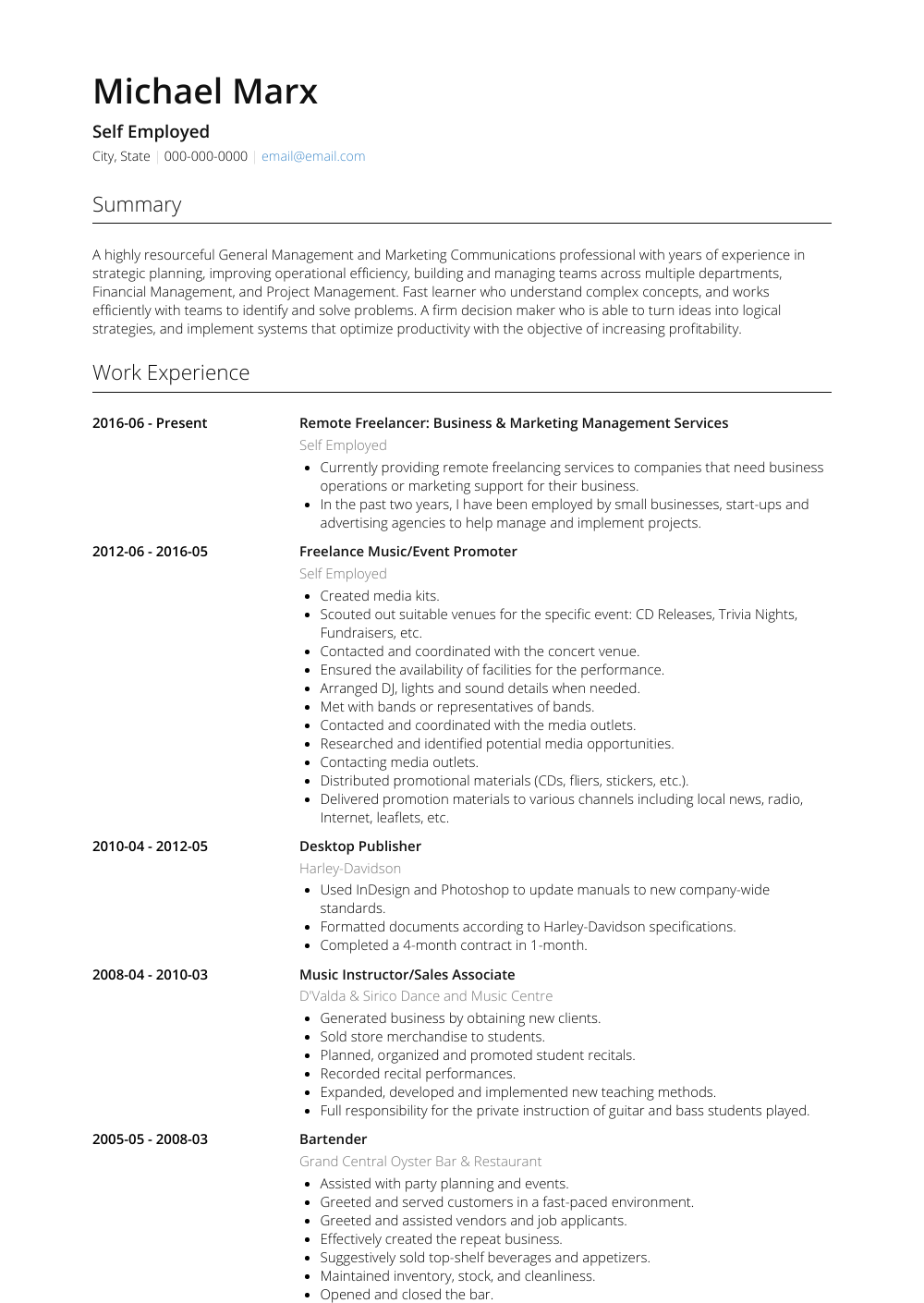 Self Employed Business And Marketing Management  Resume Sample and Template