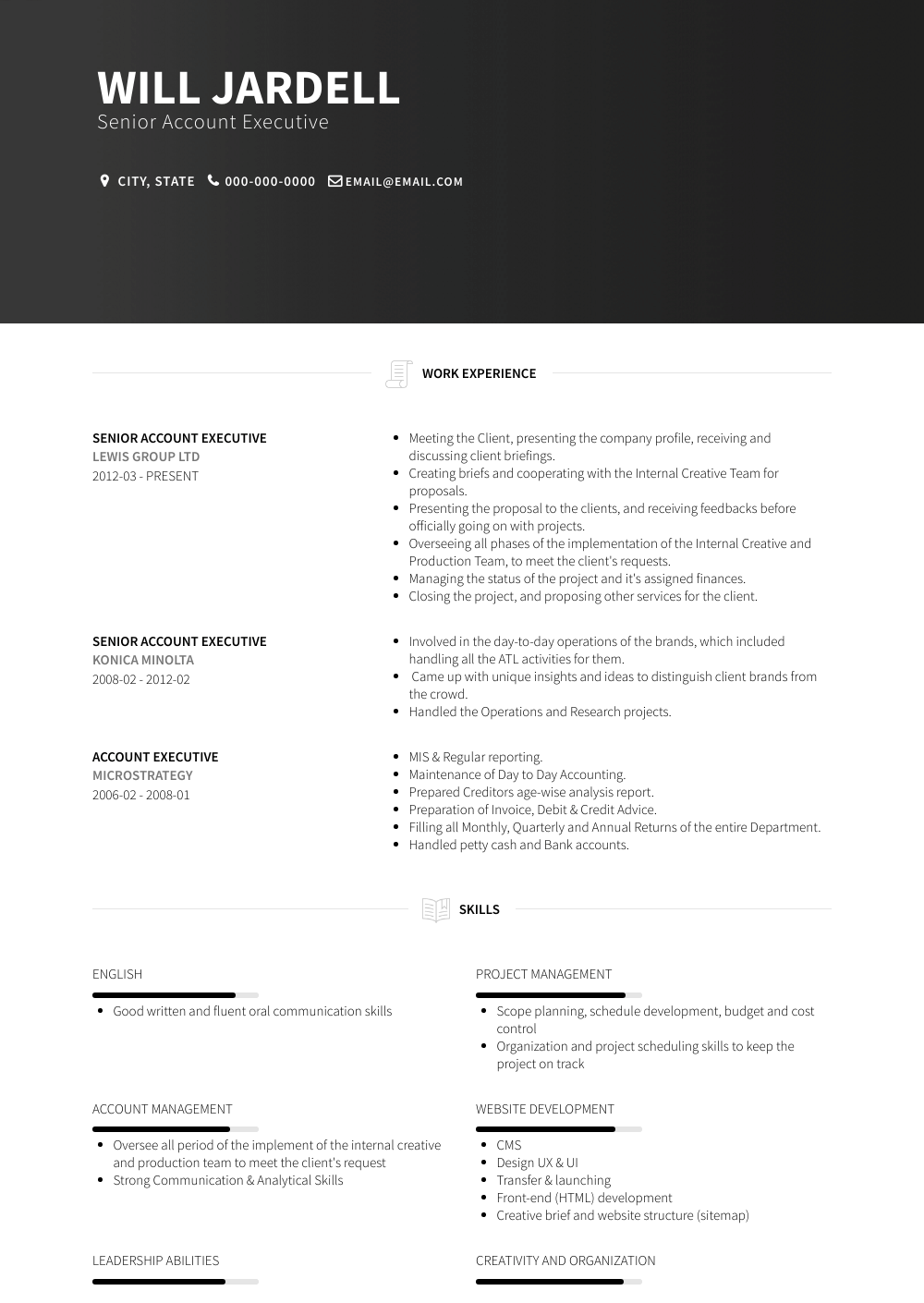 Senior Account Executive Resume Sample