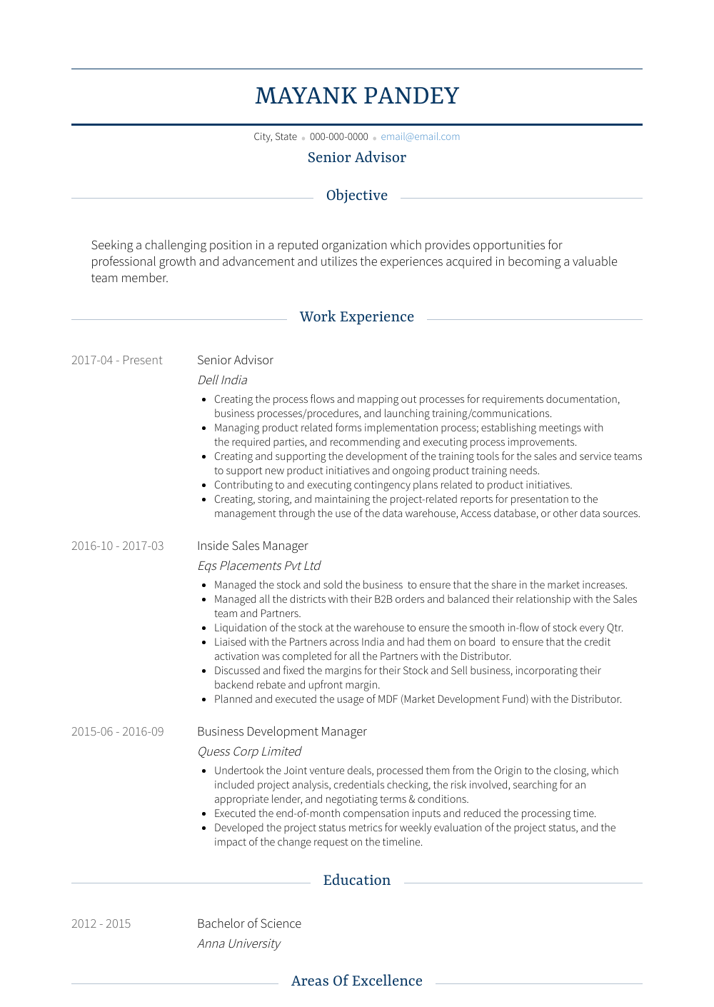 Senior Advisor Resume Sample