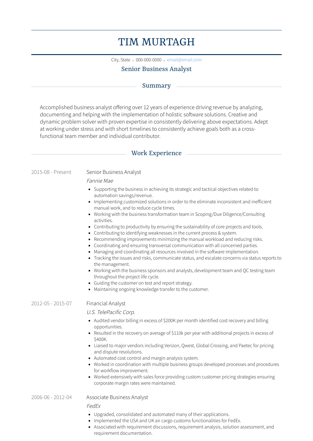 Senior Business Analyst View Sample