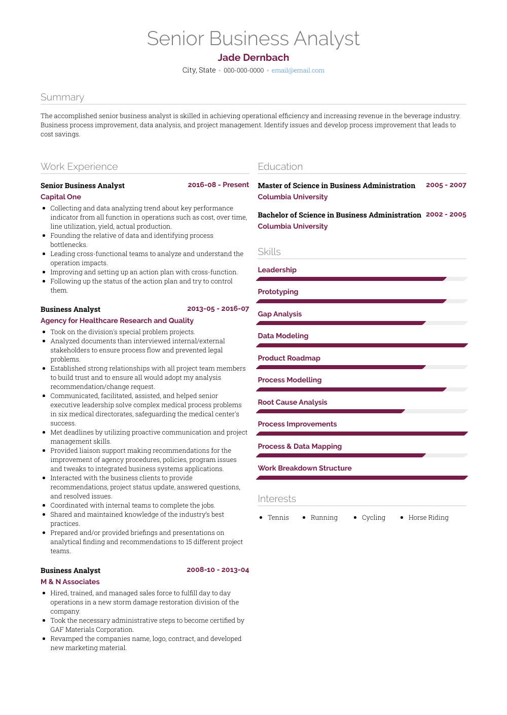 Senior Business Analyst Resume Sample and Template