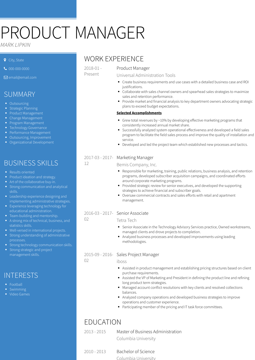 Senior Product Manager Resume Sample and Template