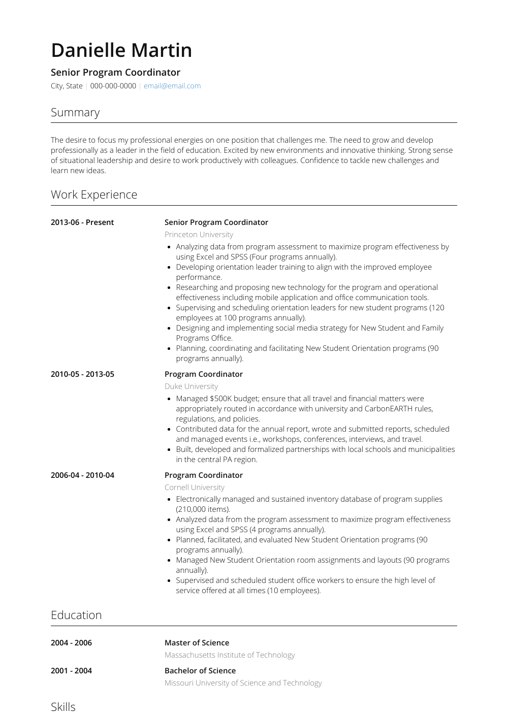 Senior Program Coordinator View Sample