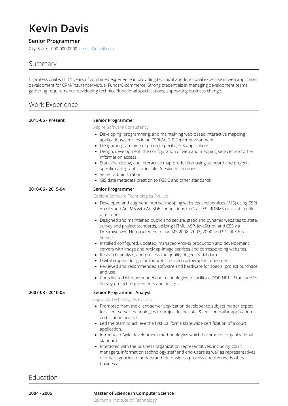 Senior Programmer View Sample