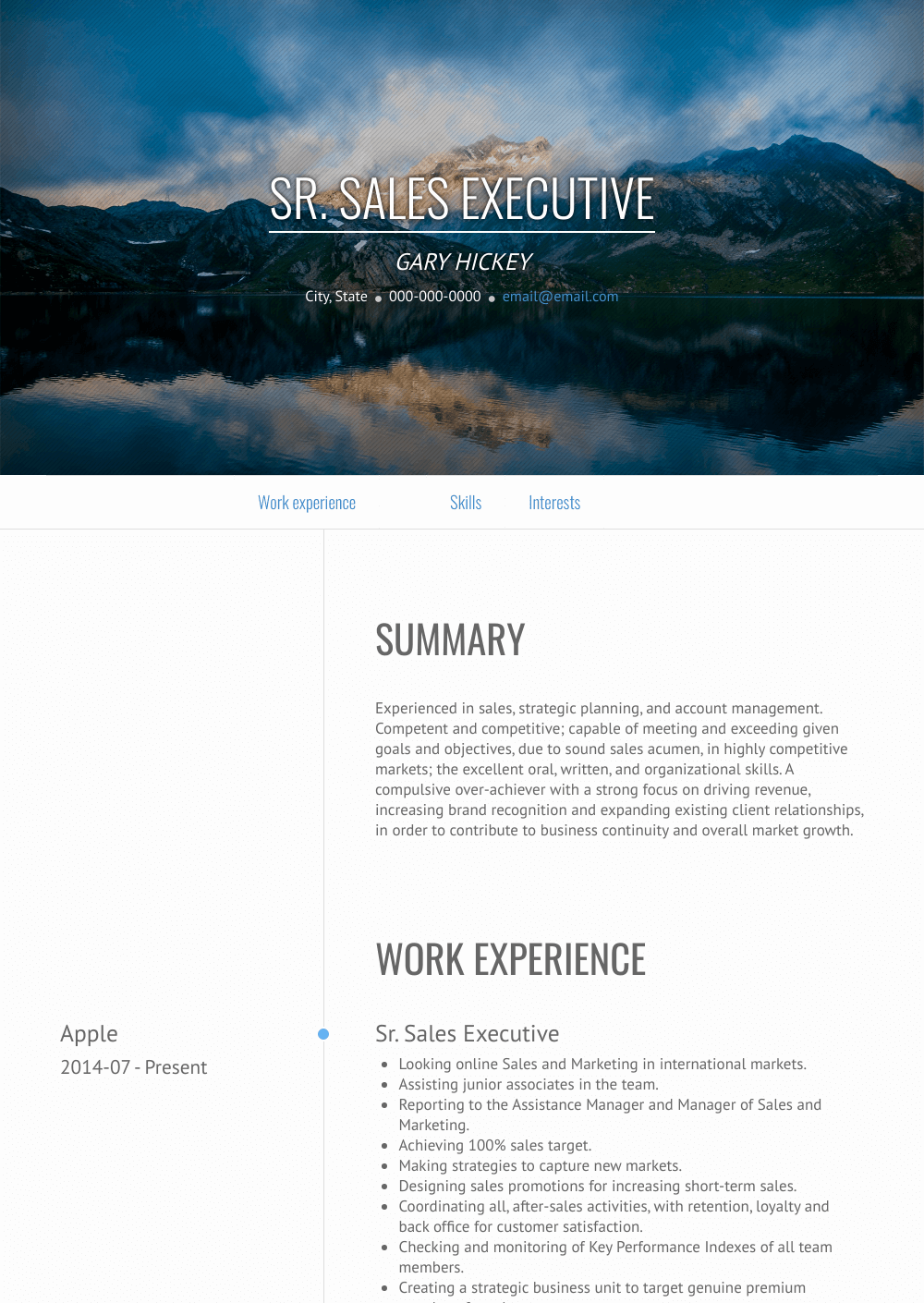 Senior Sales Executive - Resume Samples and Templates | VisualCV