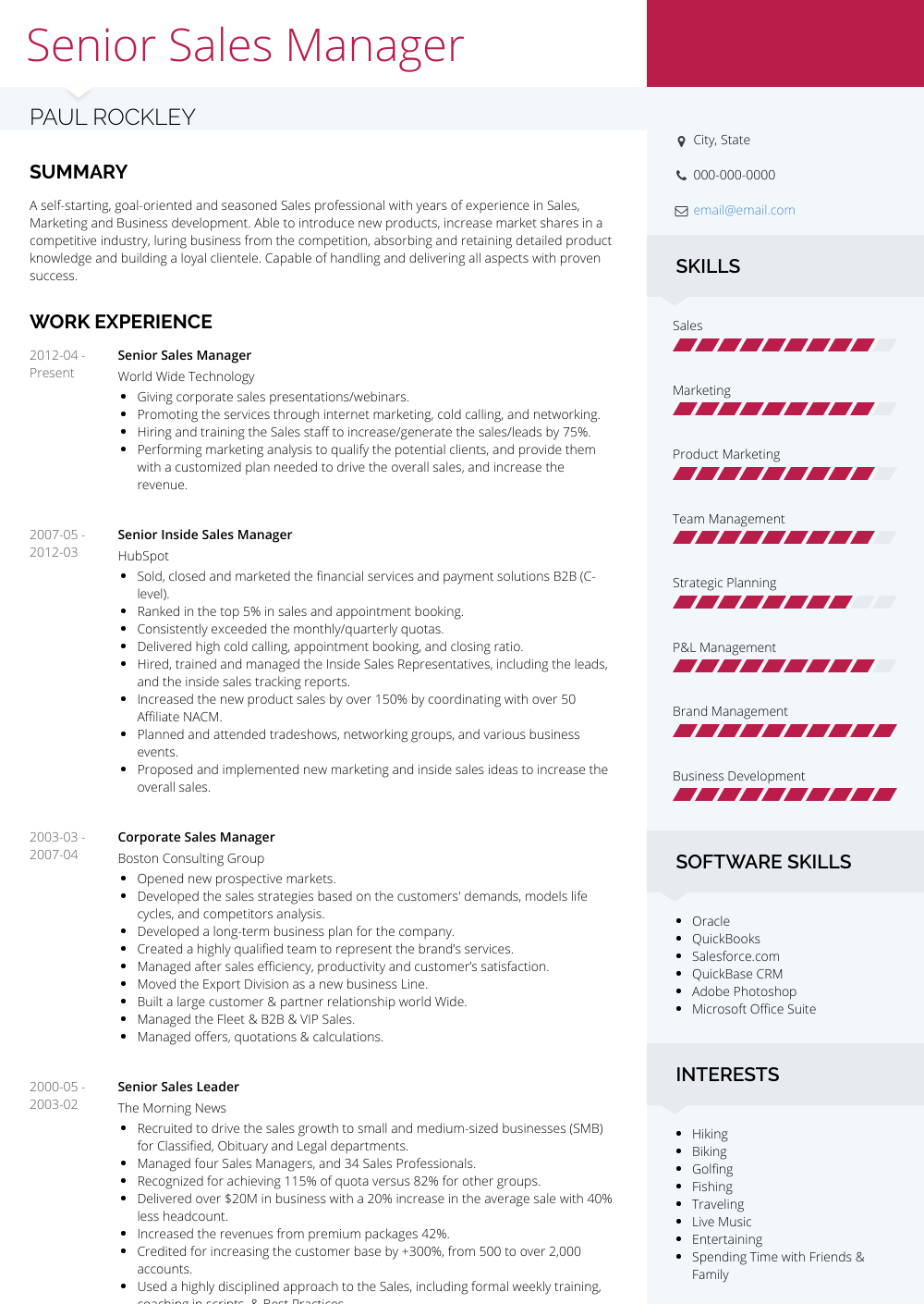 Senior Sales Manager Resume Samples Amp Templates Visualcv