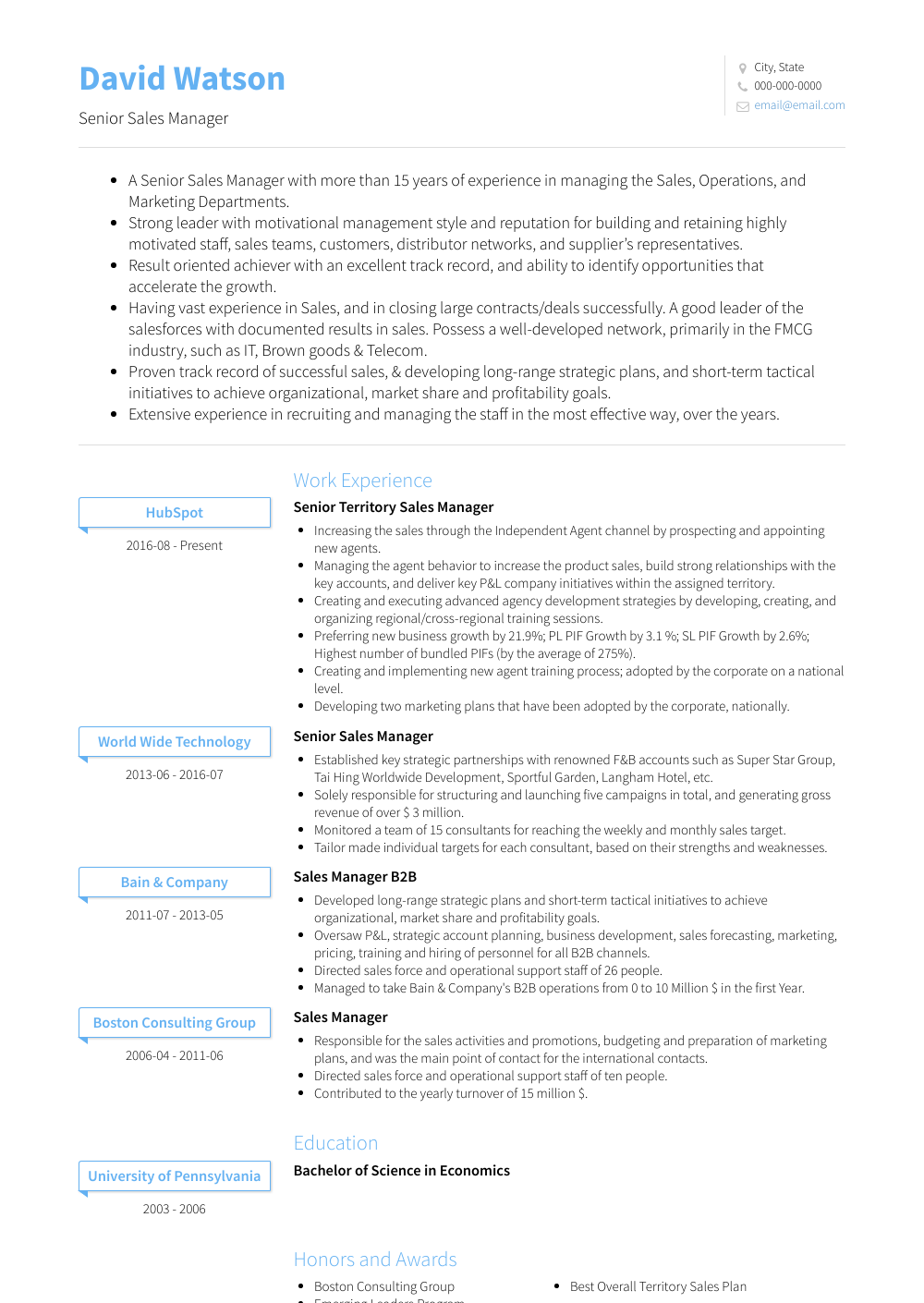 Senior Sales Manager Resume Sample and Template