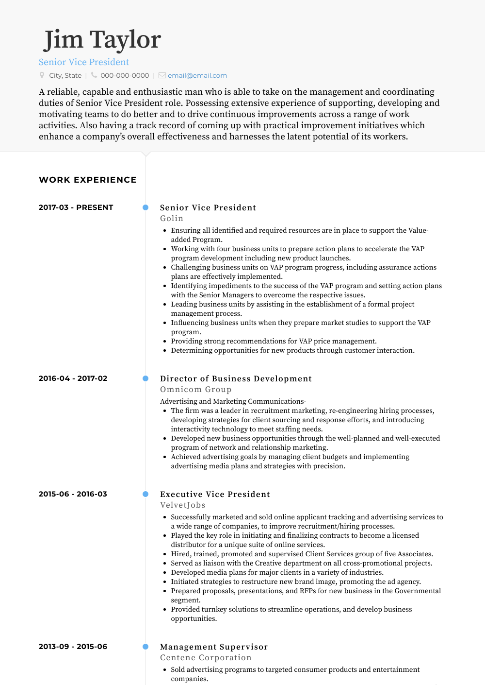 Senior Vice President Resume Sample and Template
