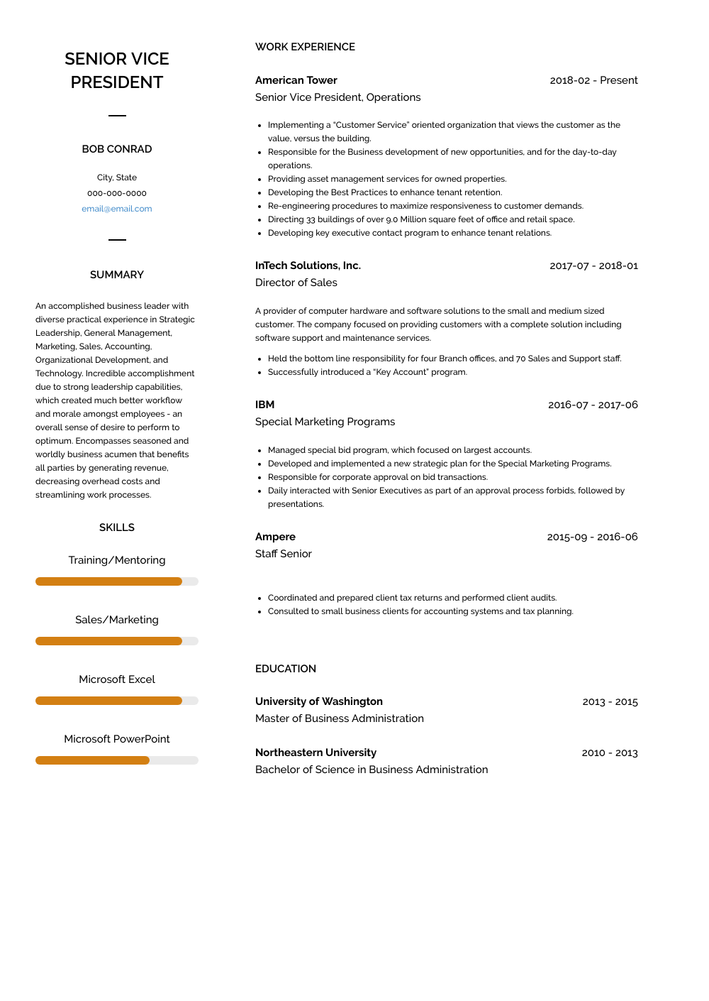 Senior Vice President - Resume Samples and Templates | VisualCV