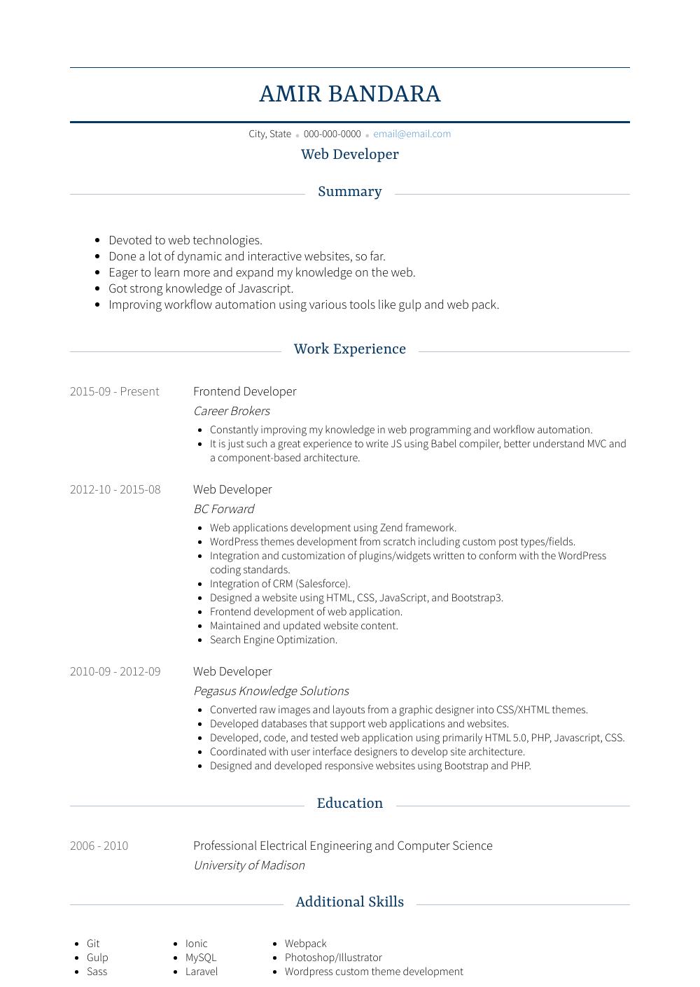 Web Developer Resume Sample and Template