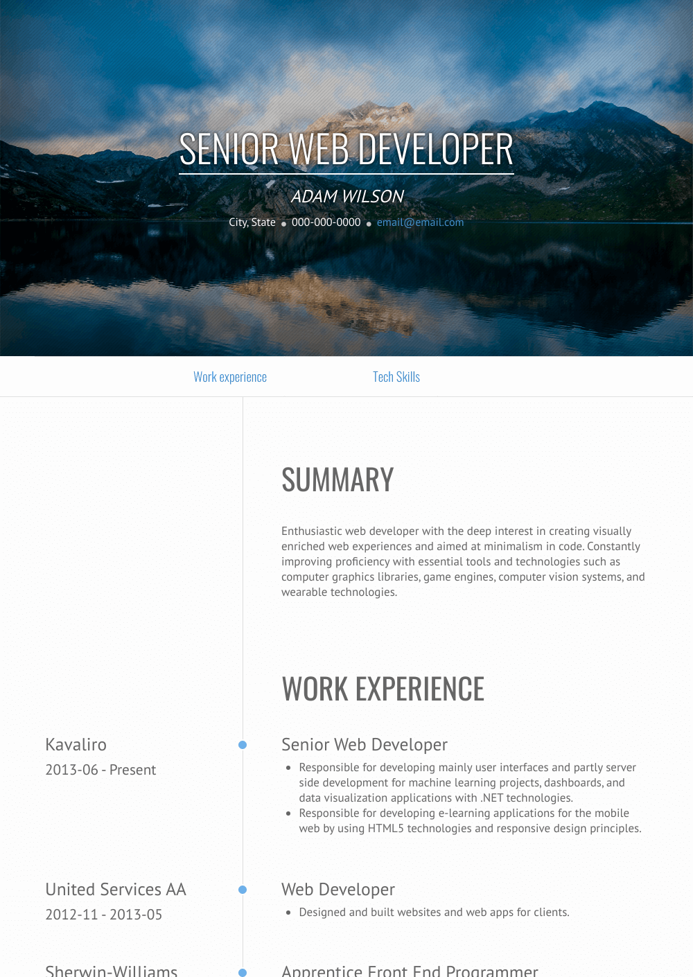 Senior Web Developer Resume Sample and Template