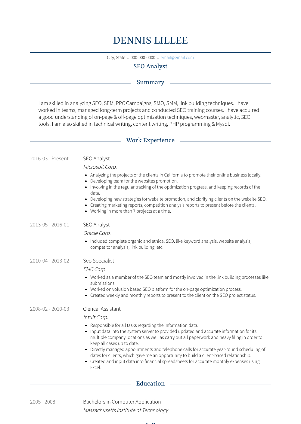 Seo Analyst Resume Sample