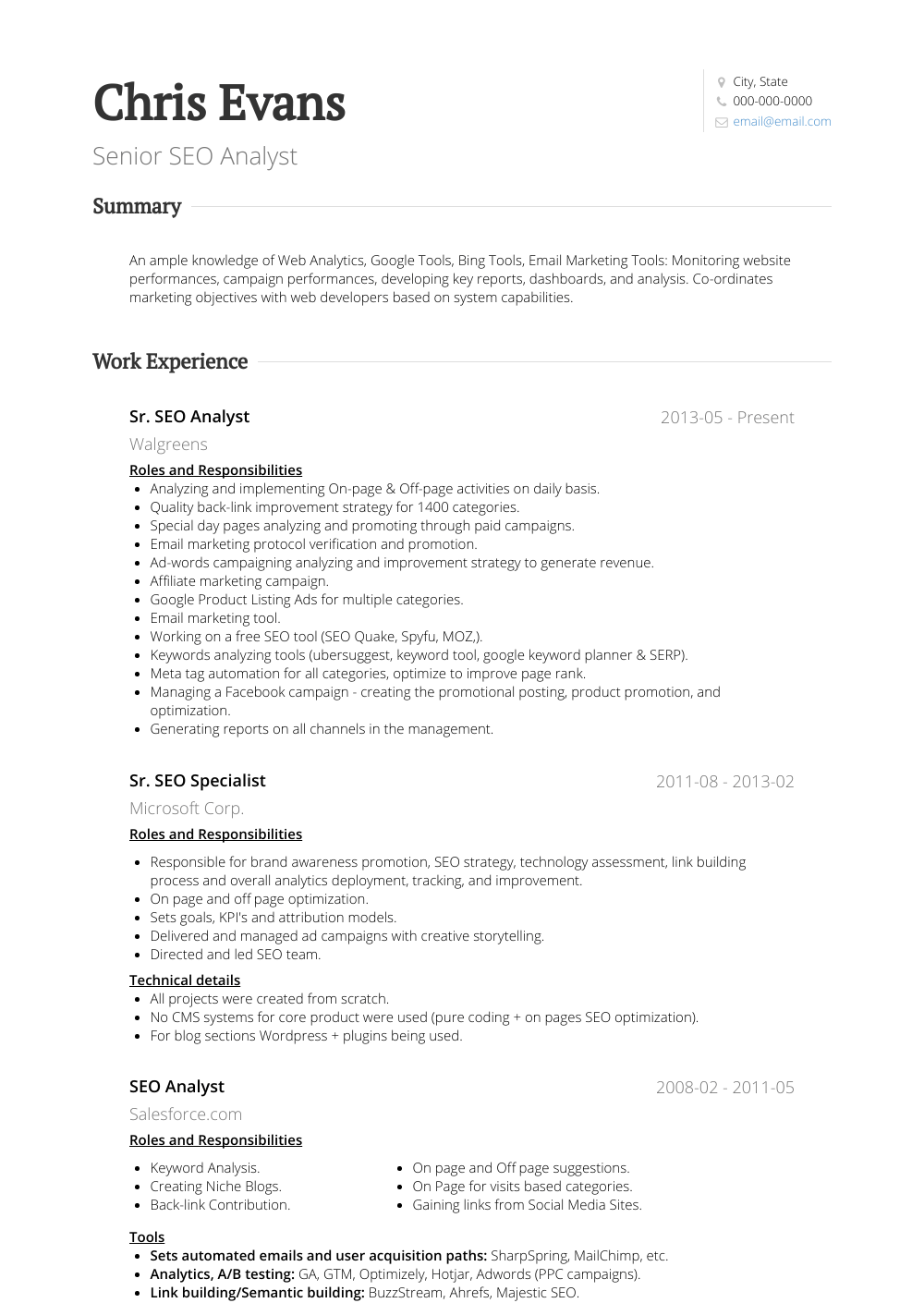 Seo Analyst - Resume Samples & Templates | VisualCV