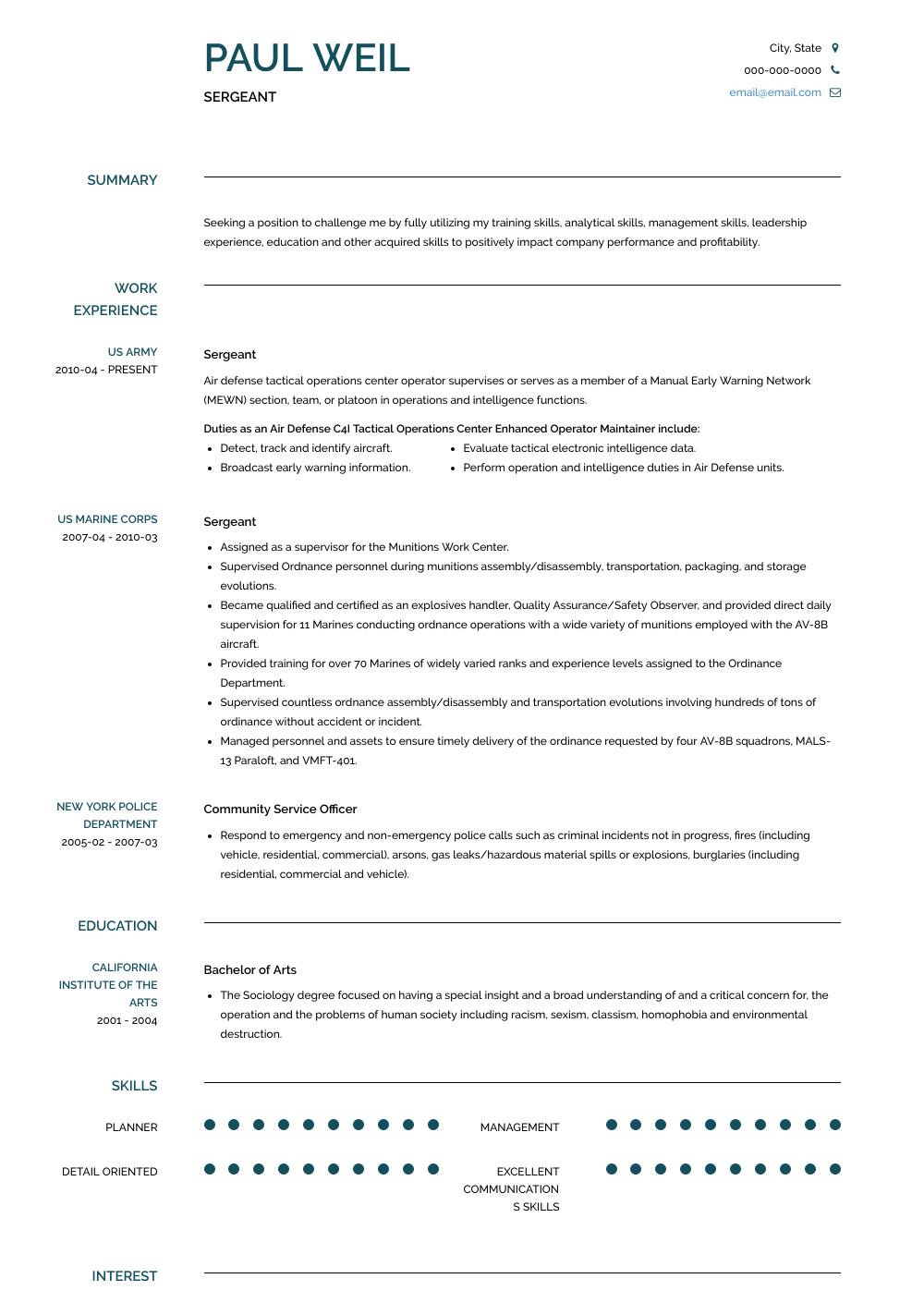 Sergeant Resume Sample