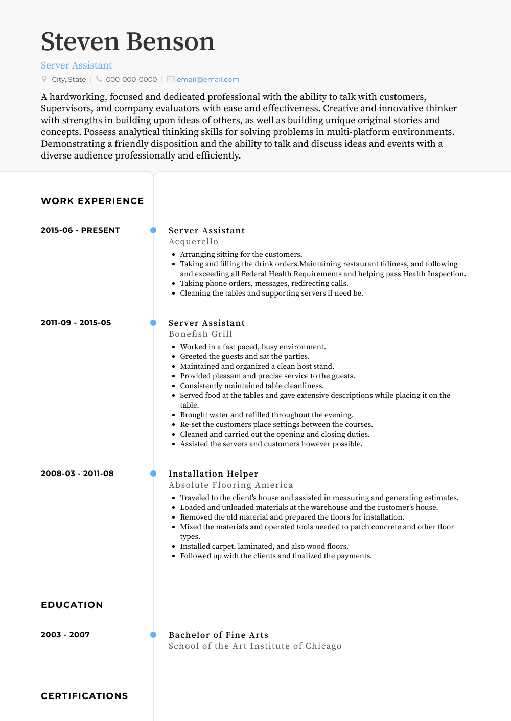Server Assistant Resume Samples Templates Visualcv