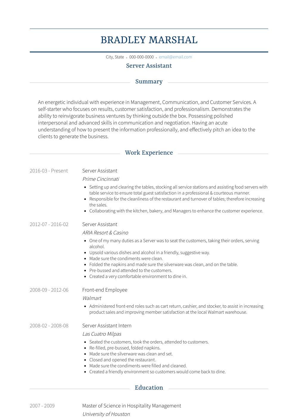 Server Assistant   Resume Samples & Templates | VisualCV