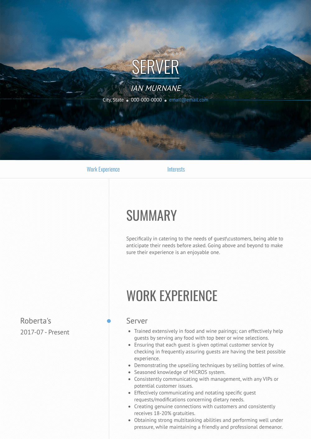 Server Resume Sample and Template