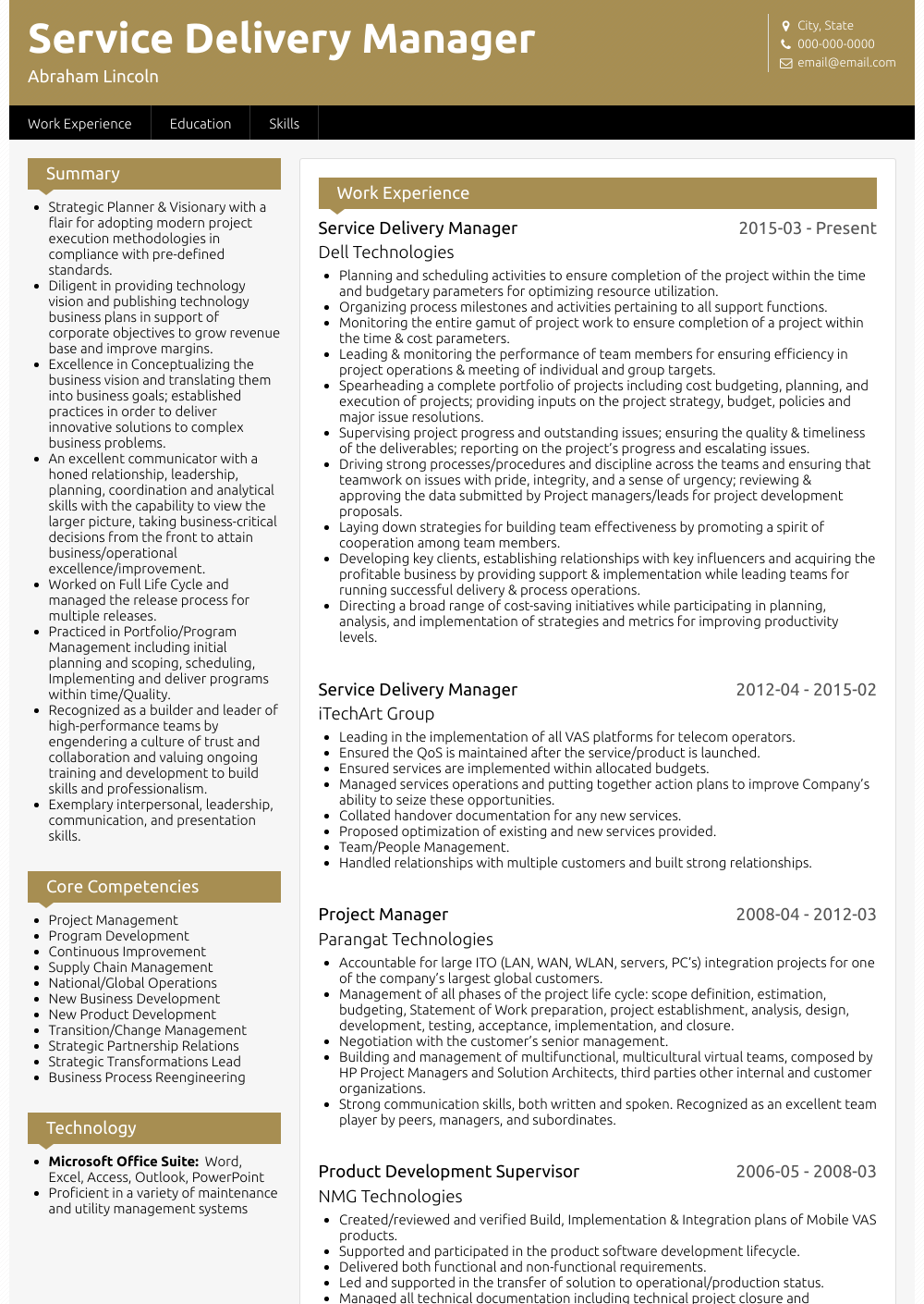 Service Delivery Manager Resume Sample