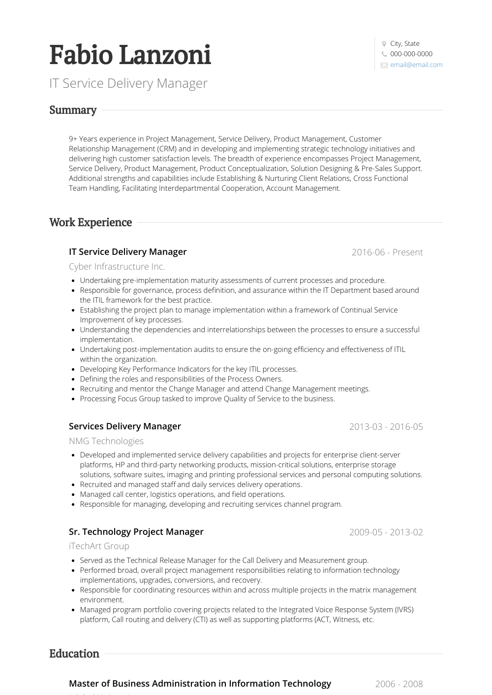 Service Delivery Manager - Resume Samples & Templates | VisualCV