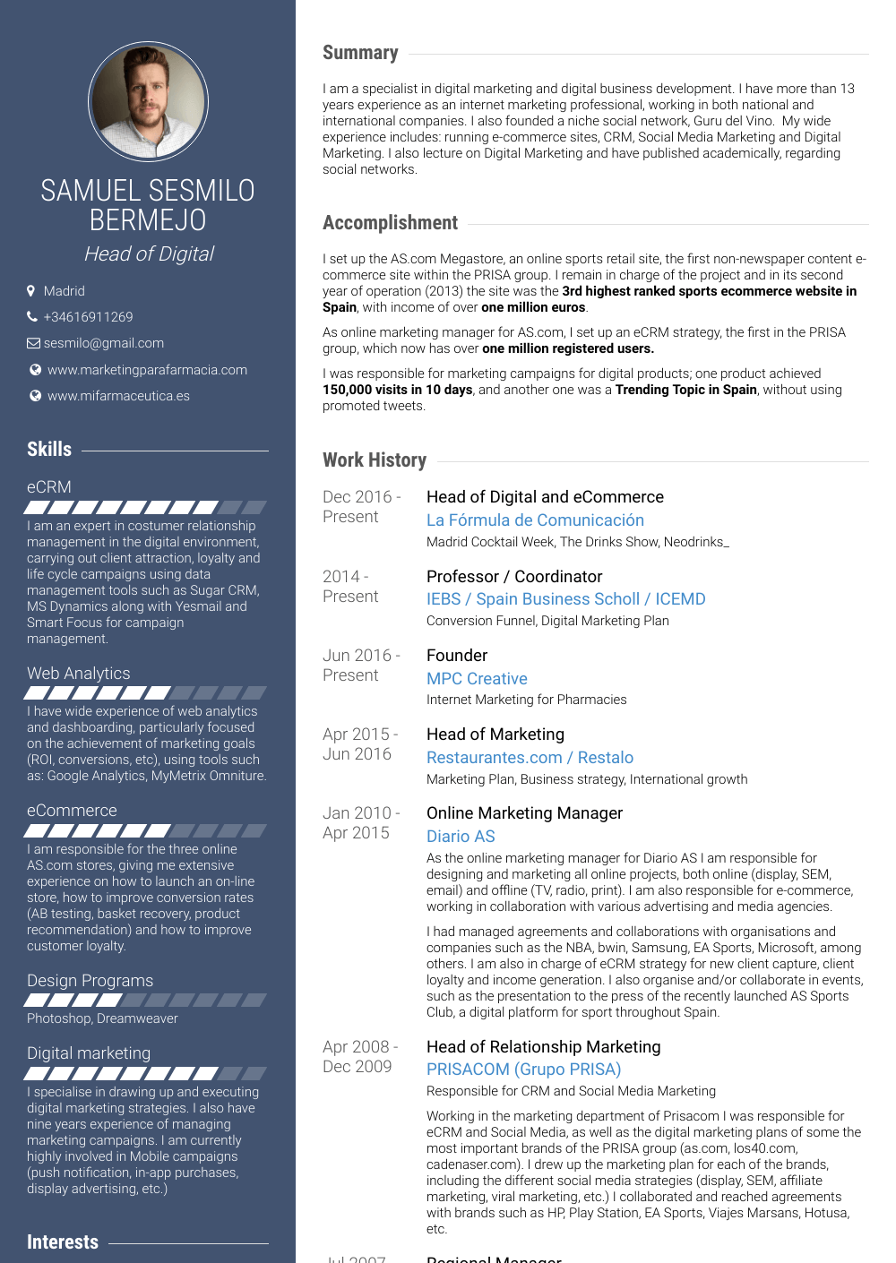 Online Marketing Resume Samples And Templates Visualcv