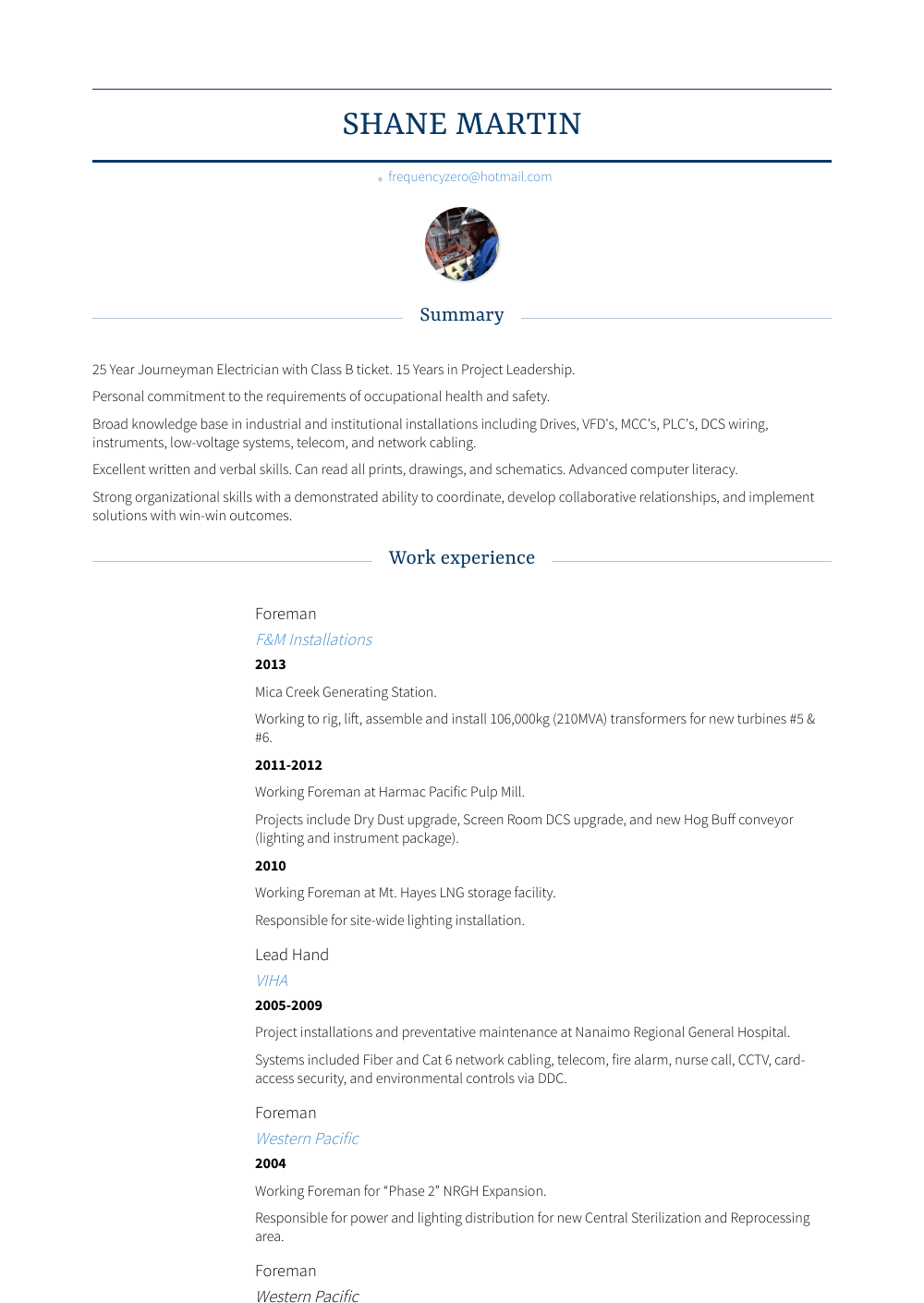 Foreman Resume Samples Templates Visualcv