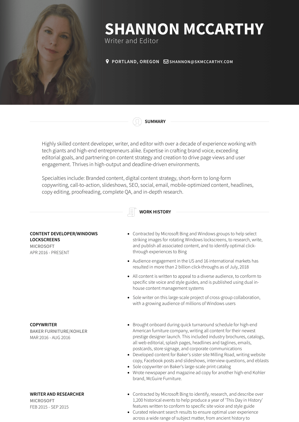 Freelance Copywriter - Resume Samples & Templates | VisualCV