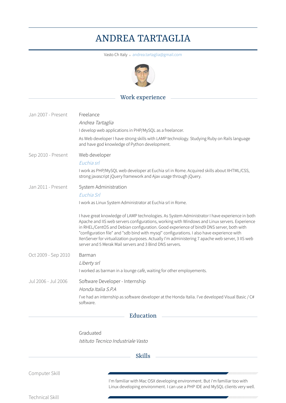 System Admin Resume Sample