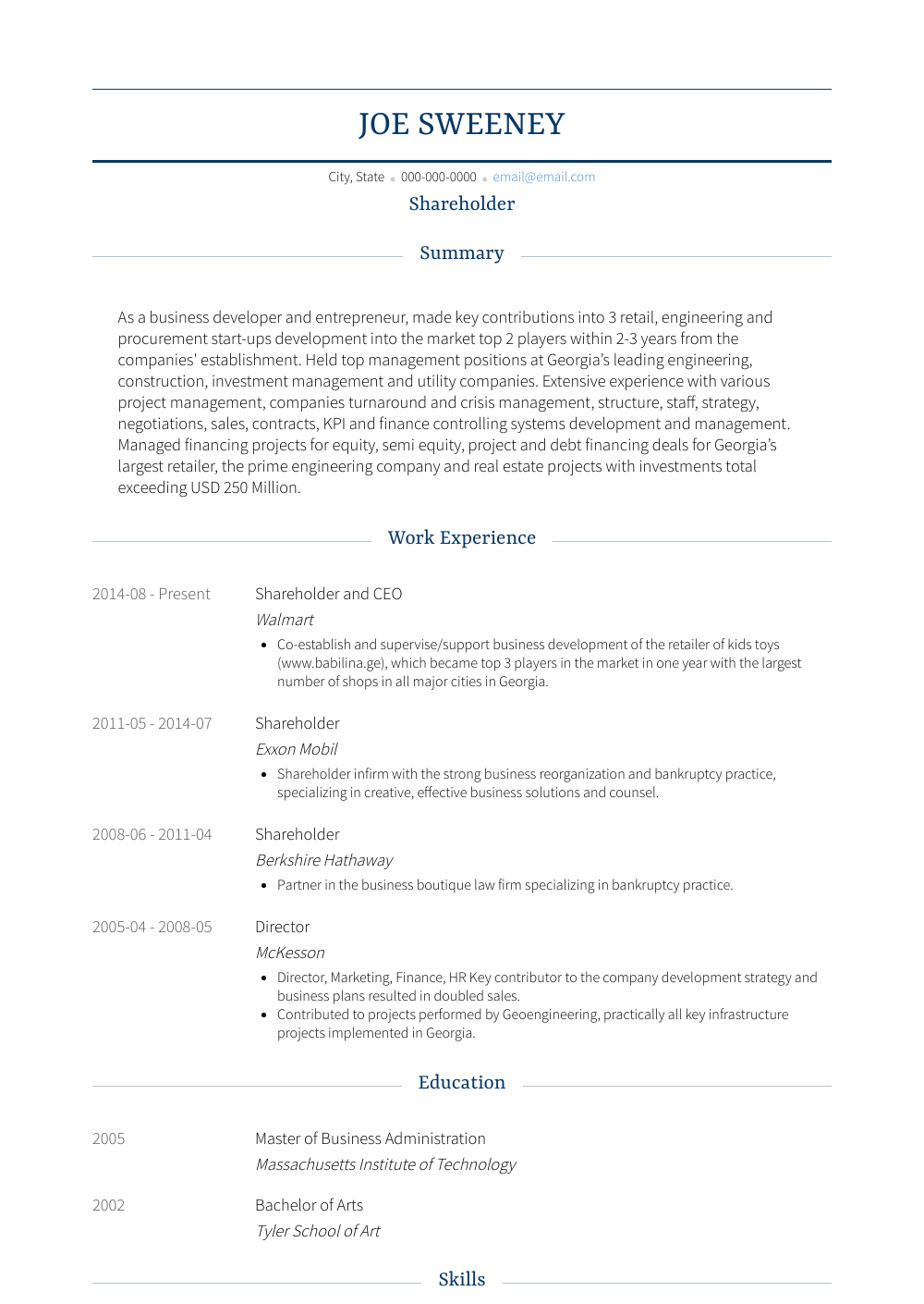 Shareholder Resume Sample