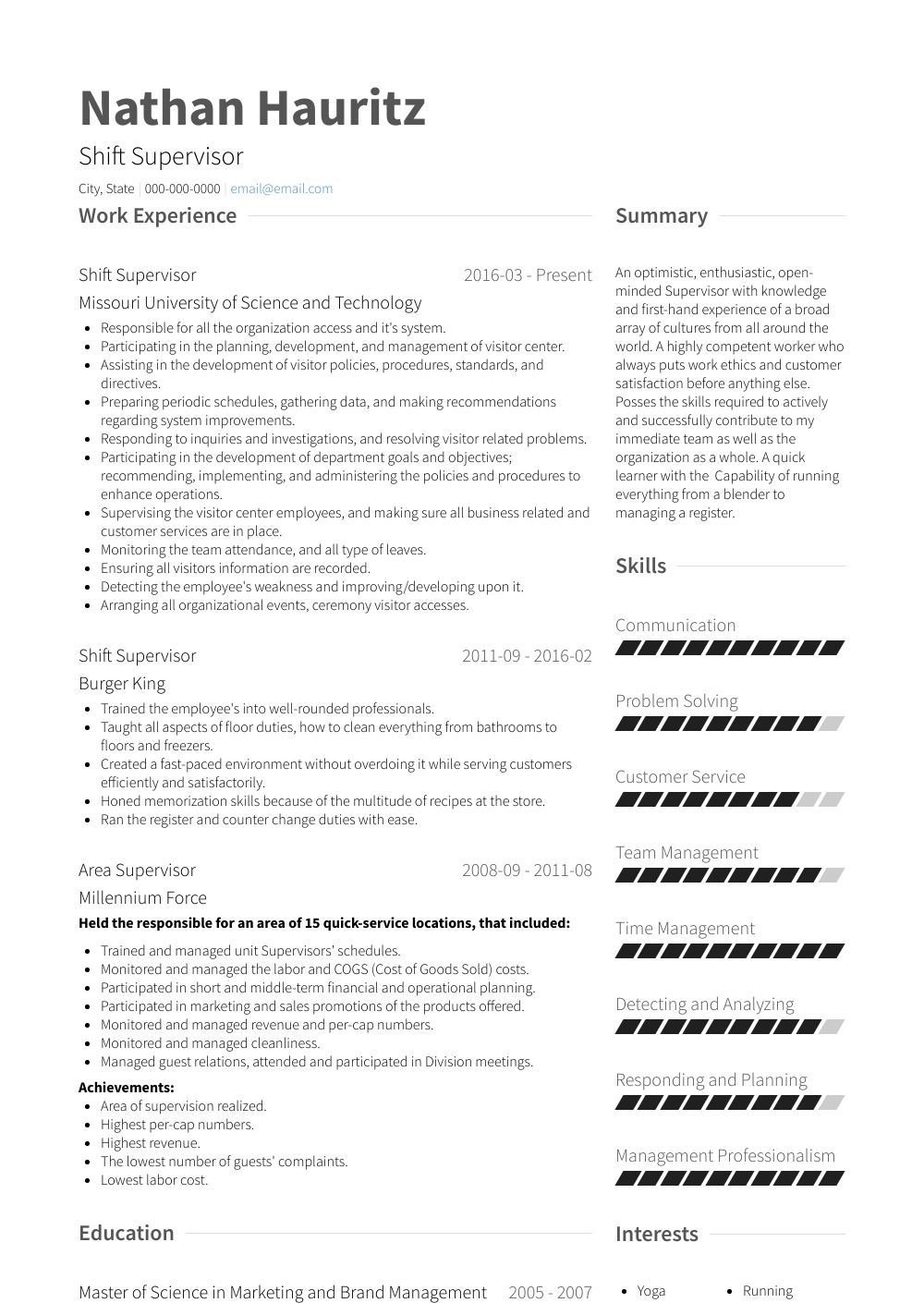 Shift Supervisor - Resume Samples & Templates | VisualCV
