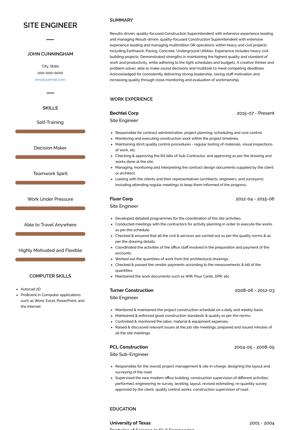 Site Engineer Resume Sample