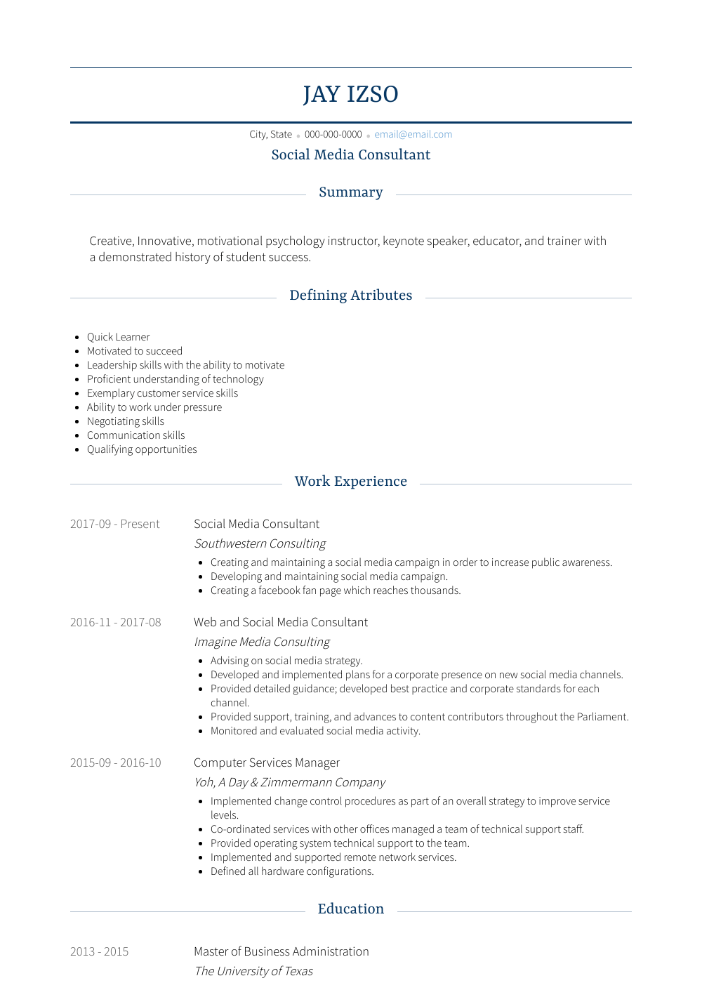 Social Media Consultant Resume Sample