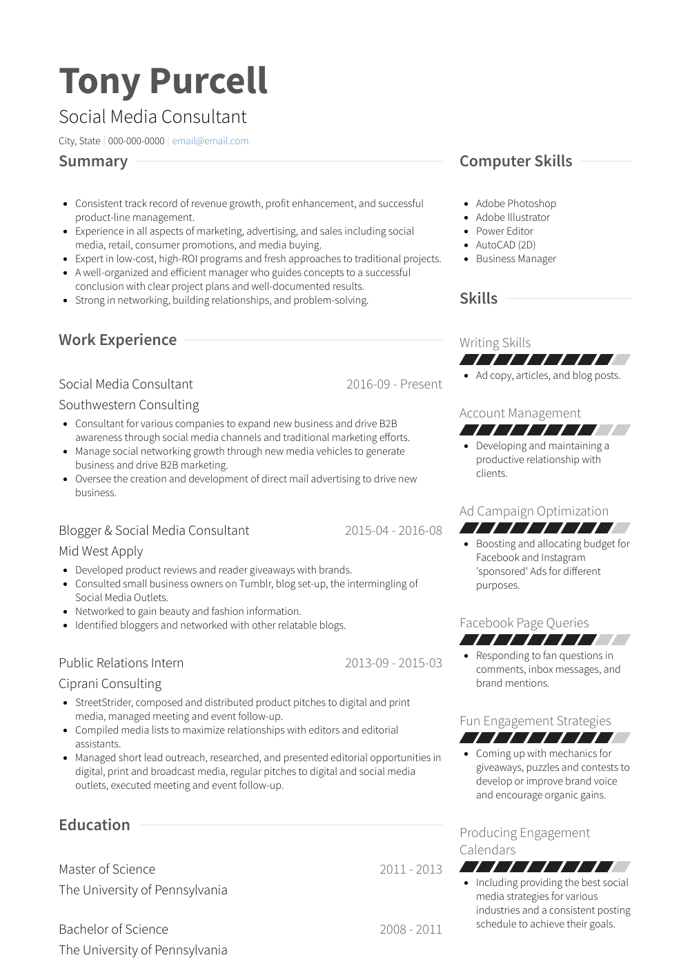 social media consultant resume samples   1 resource for templates  u0026 skills