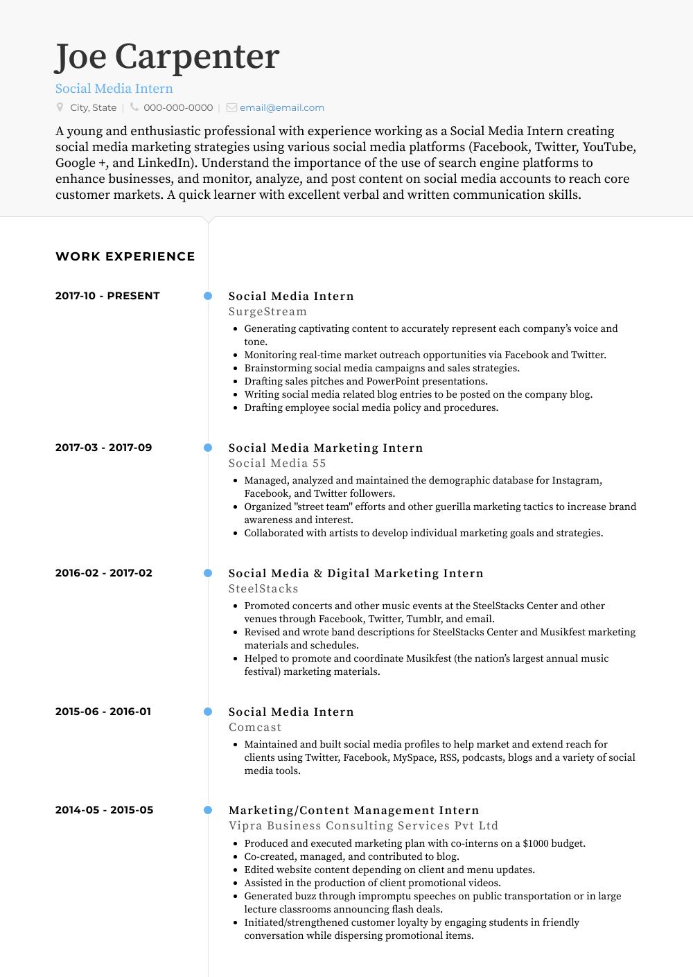 marketing internship resume samples