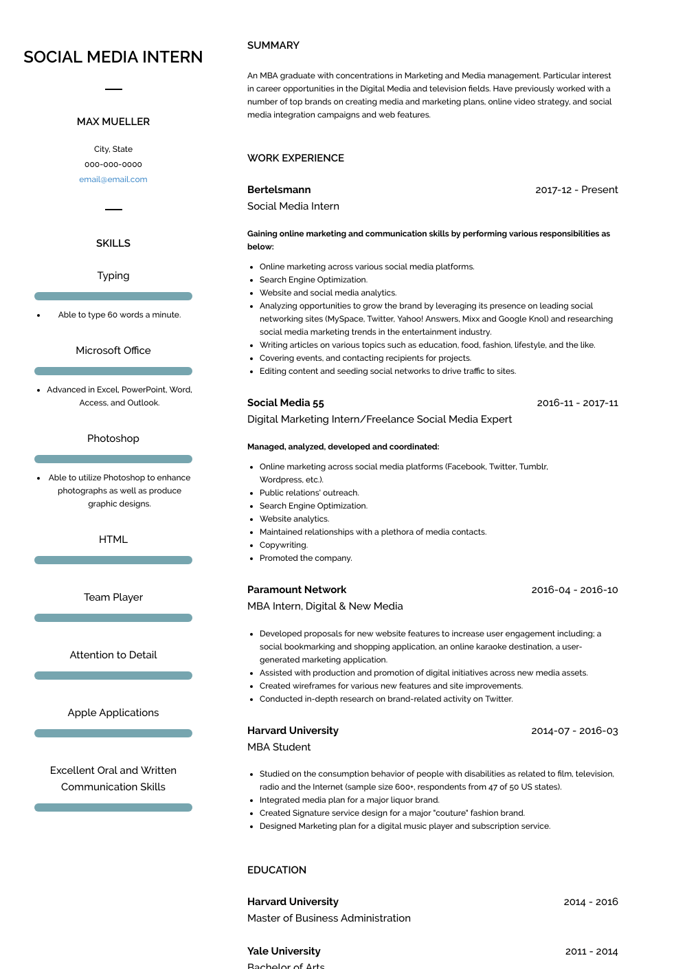 Social Media Intern Resume Sample