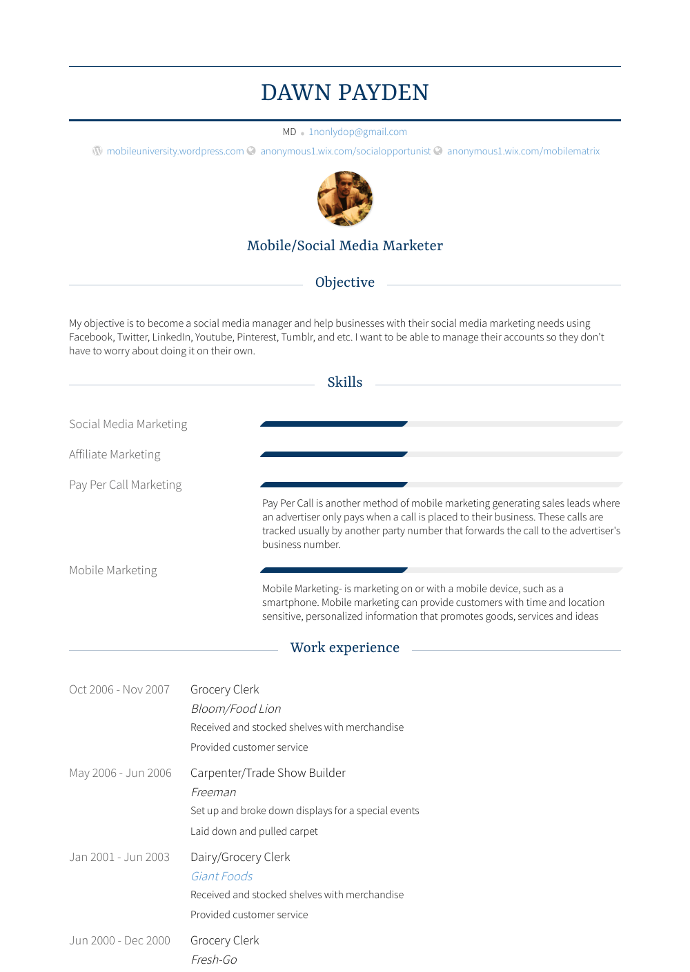 Grocery Resume Sample