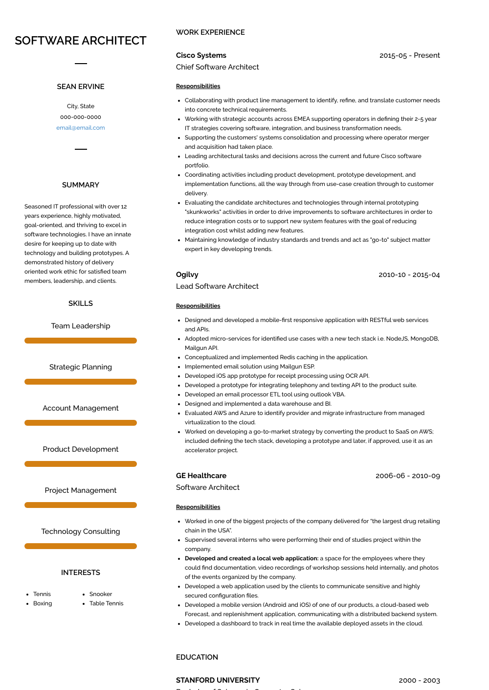Chief Software Architect Resume Sample and Template