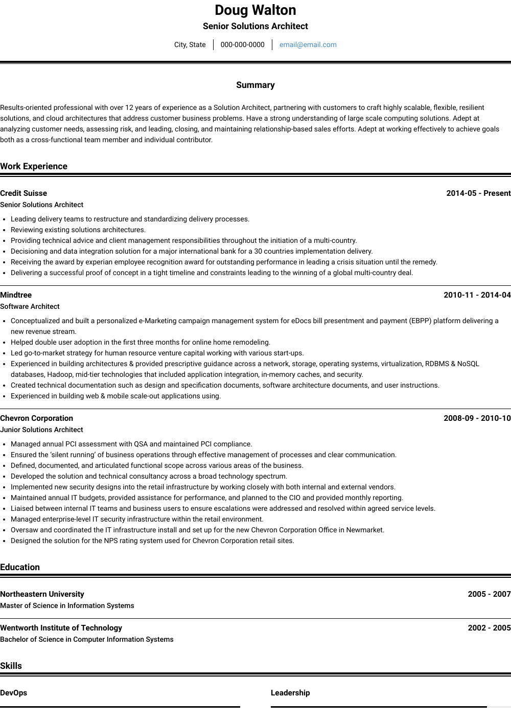 Senior Solutions Architect Resume Sample and Template