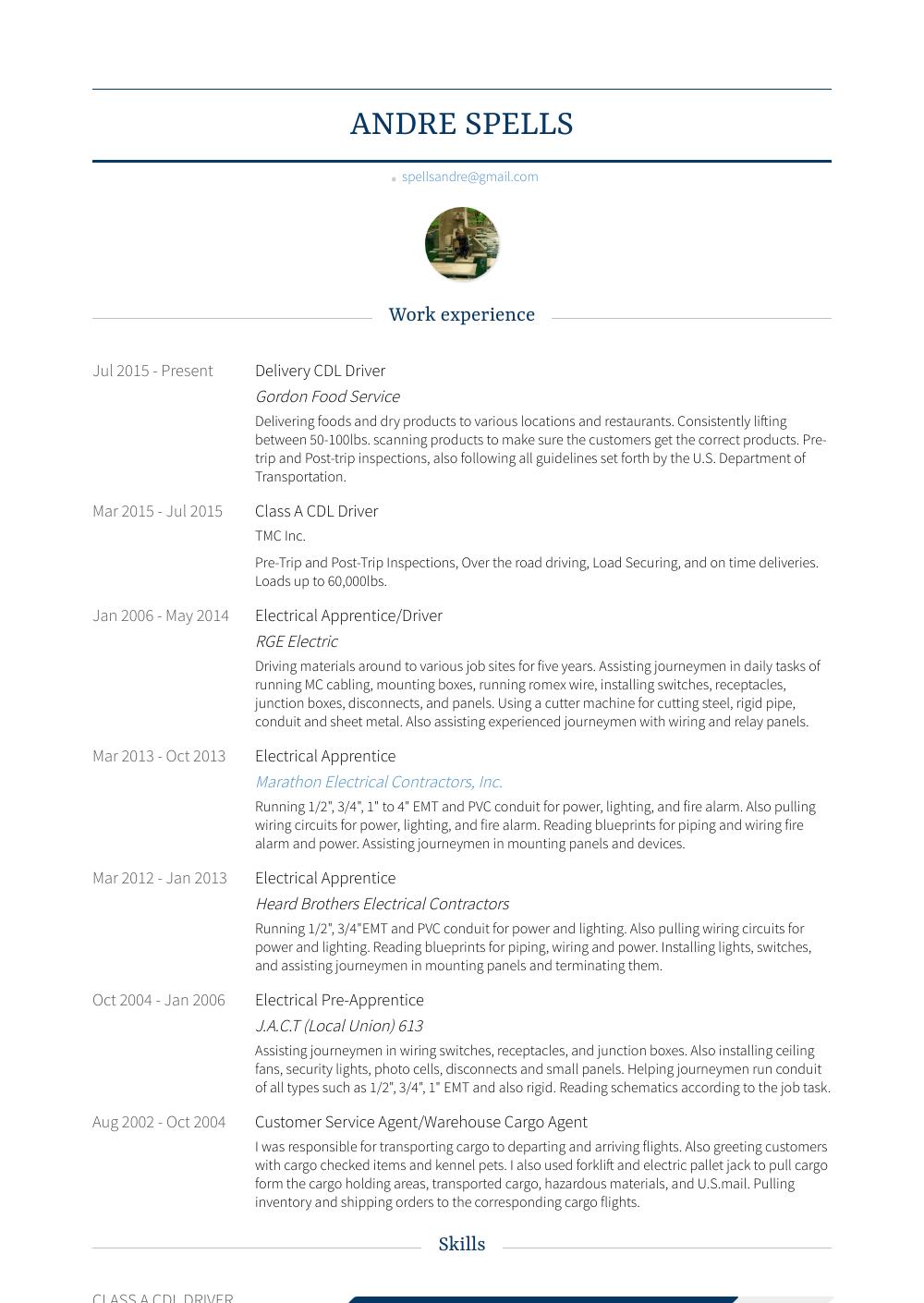 Apprentice Resume Sample