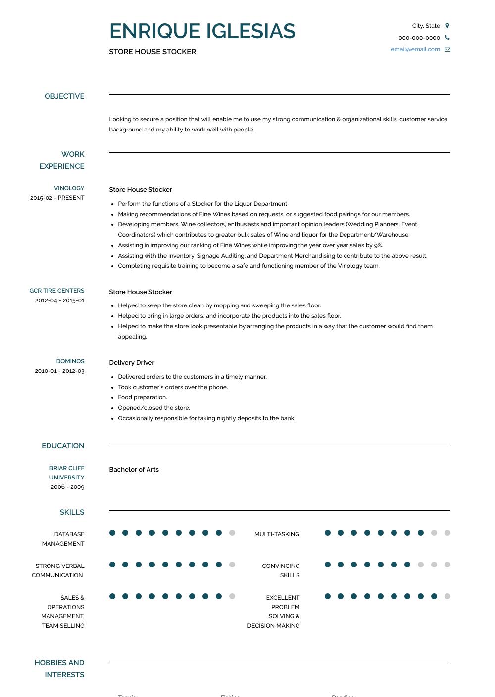 Stocker Resume Sample
