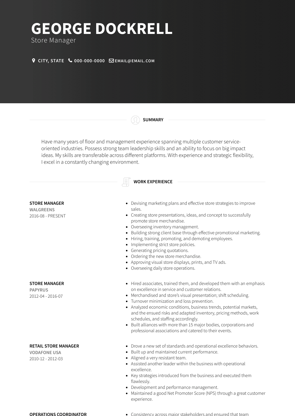 Store Manager Resume Sample and Template