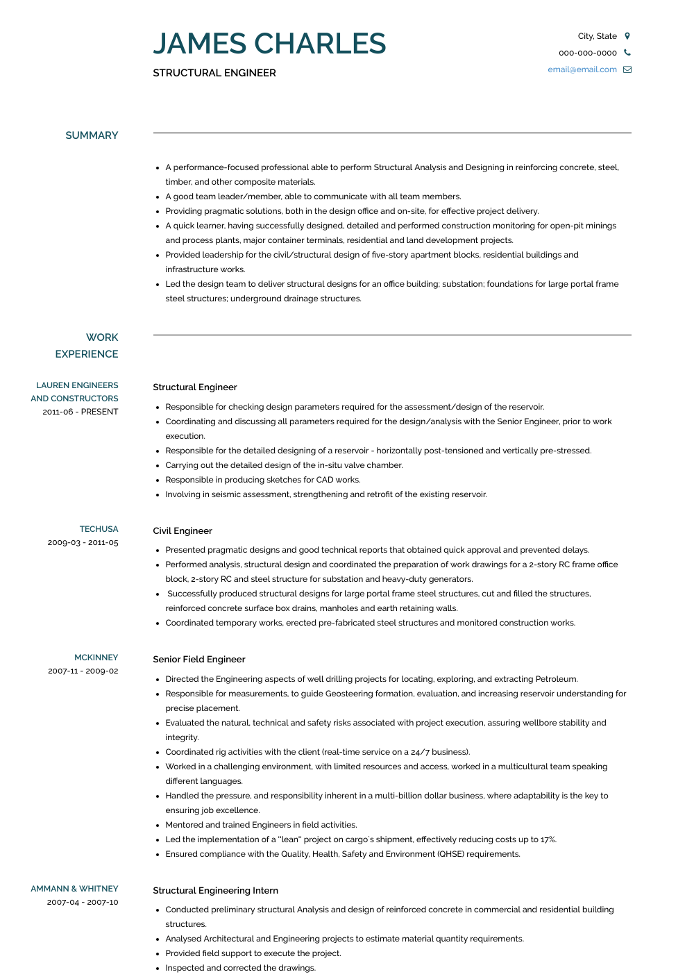 Structural Engineer - Resume Samples and Templates | VisualCV