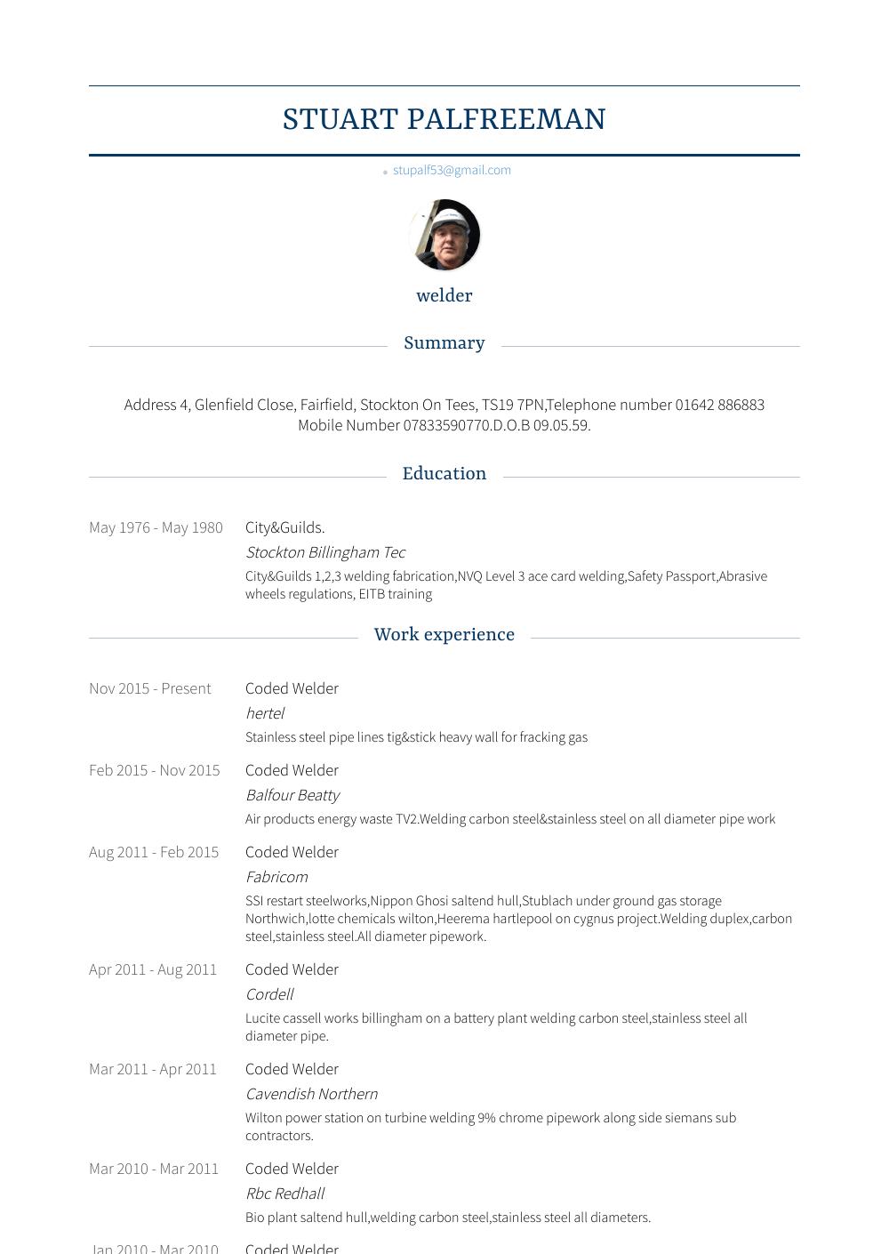 Welder Resume Samples Templates Visualcv