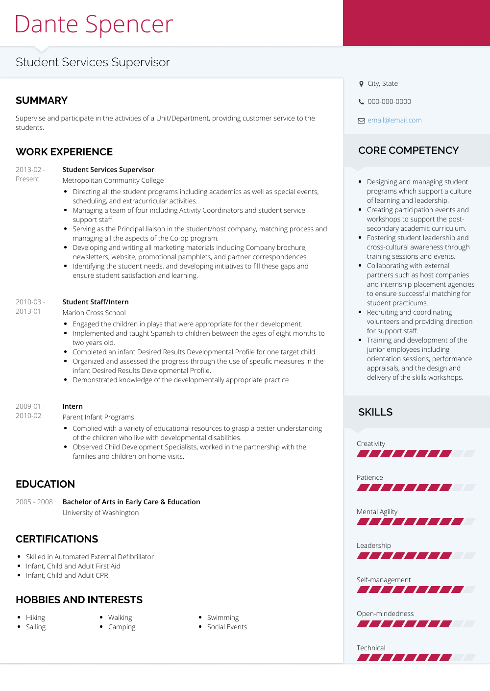 Student Resume Sample