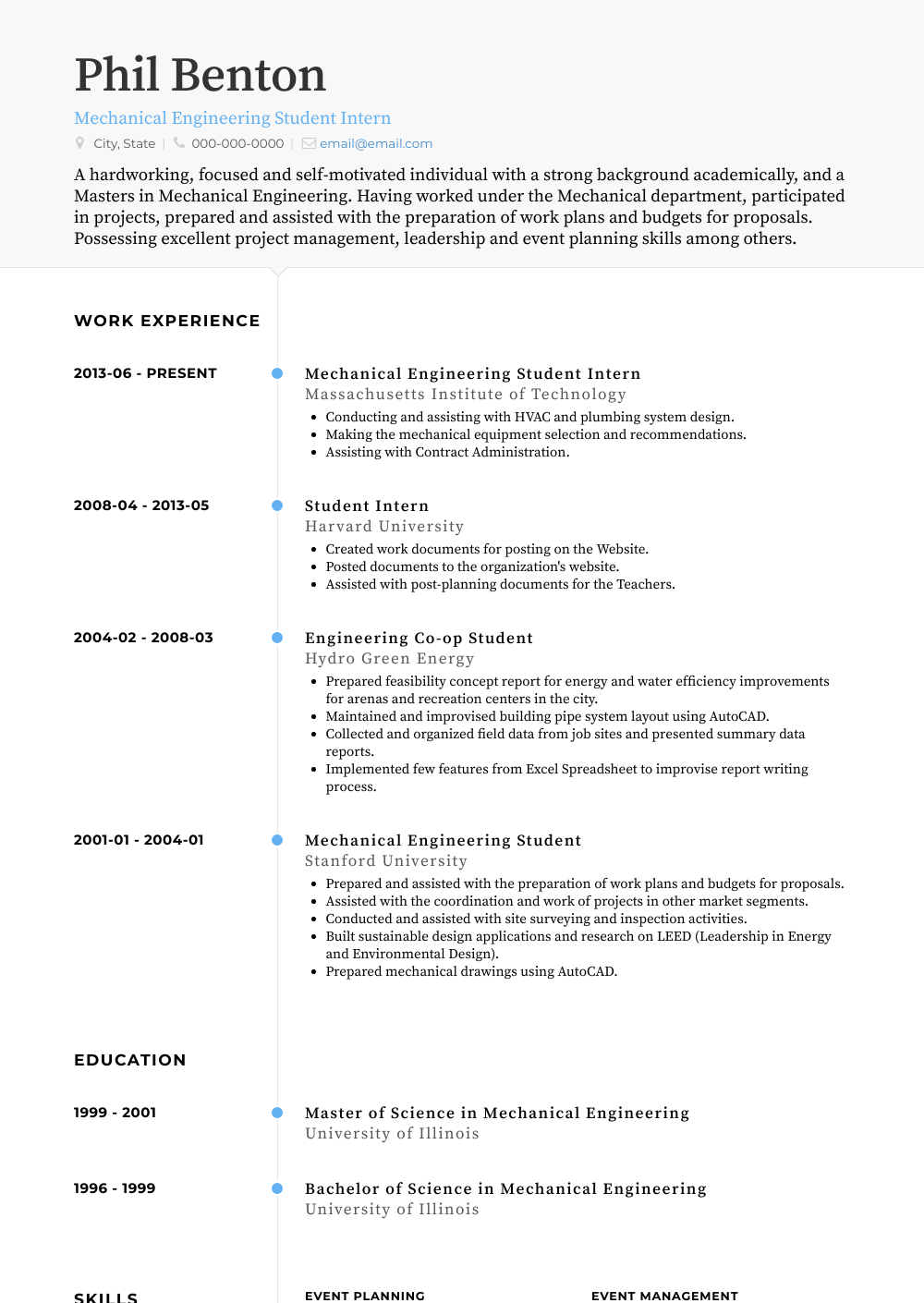 Student Intern  Resume Samples