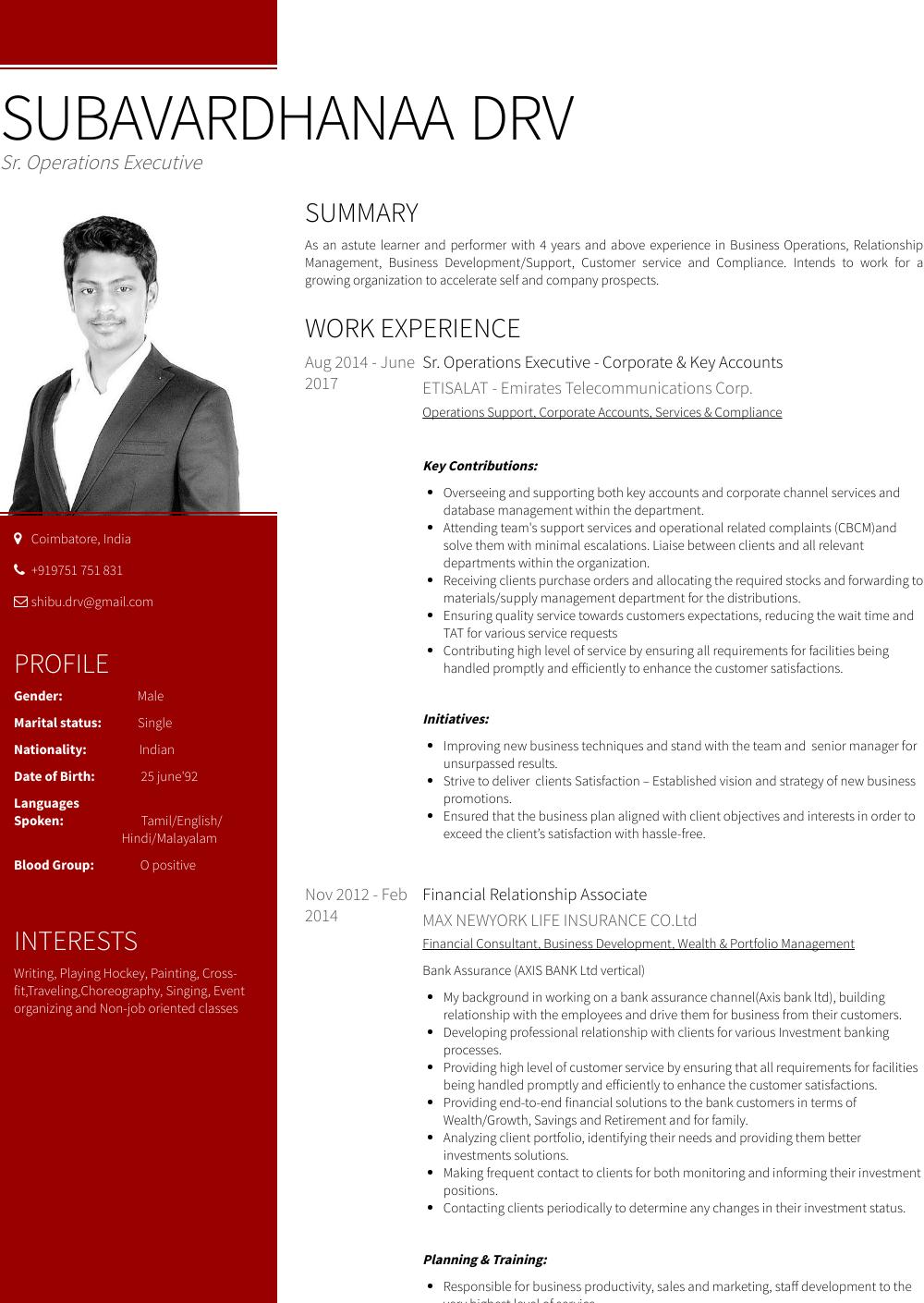 Relationship Manager Resume Sample