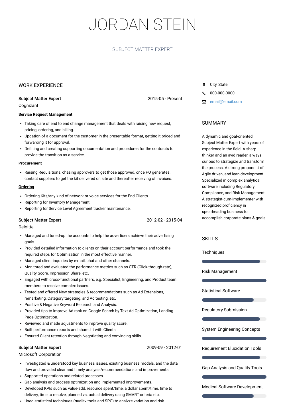 Subject Matter Expert - Resume Samples and Templates | VisualCV