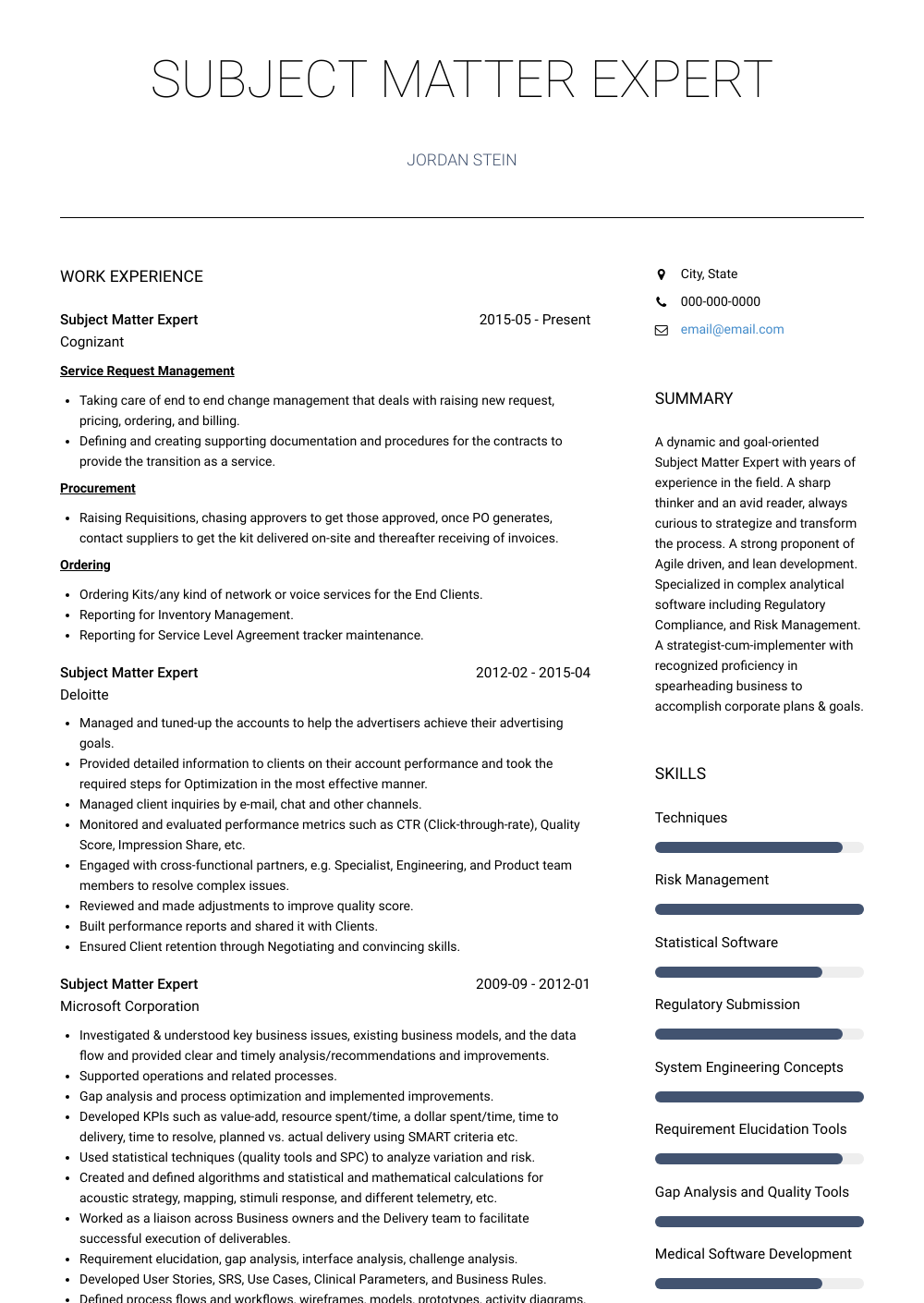Subject Matter Expert Resume Sample and Template