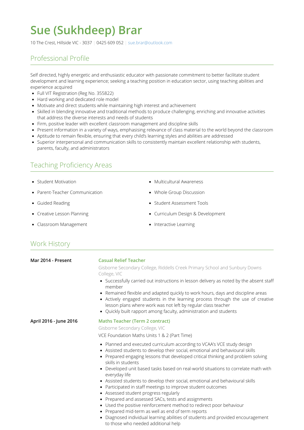 Relief Teacher - Resume Samples & Templates | VisualCV