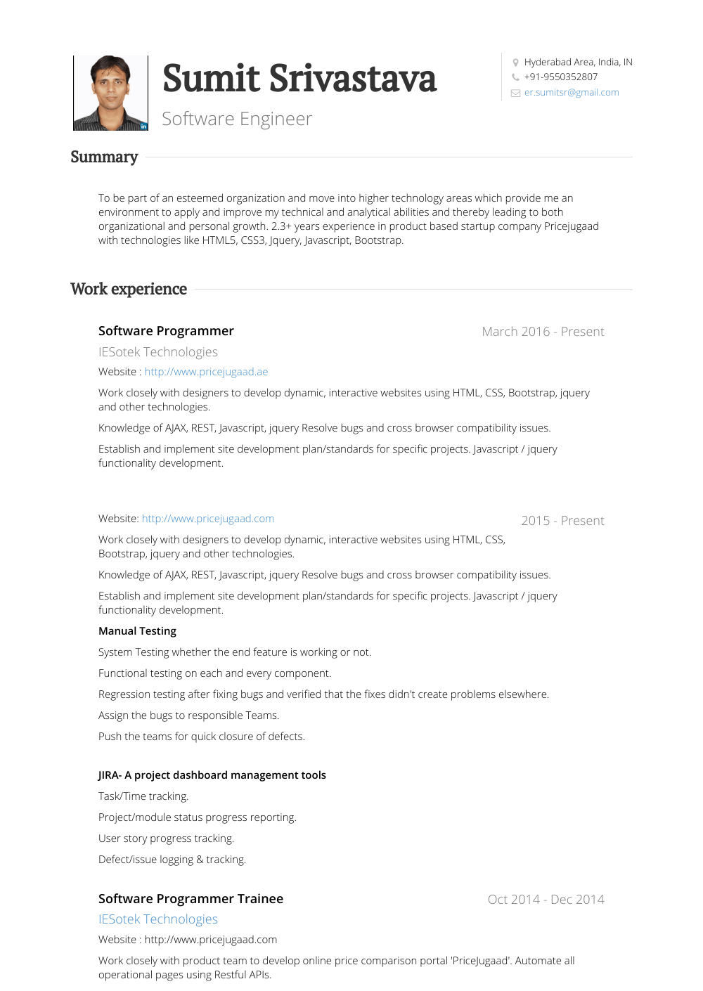 Software Programmer - Resume Samples & Templates | VisualCV